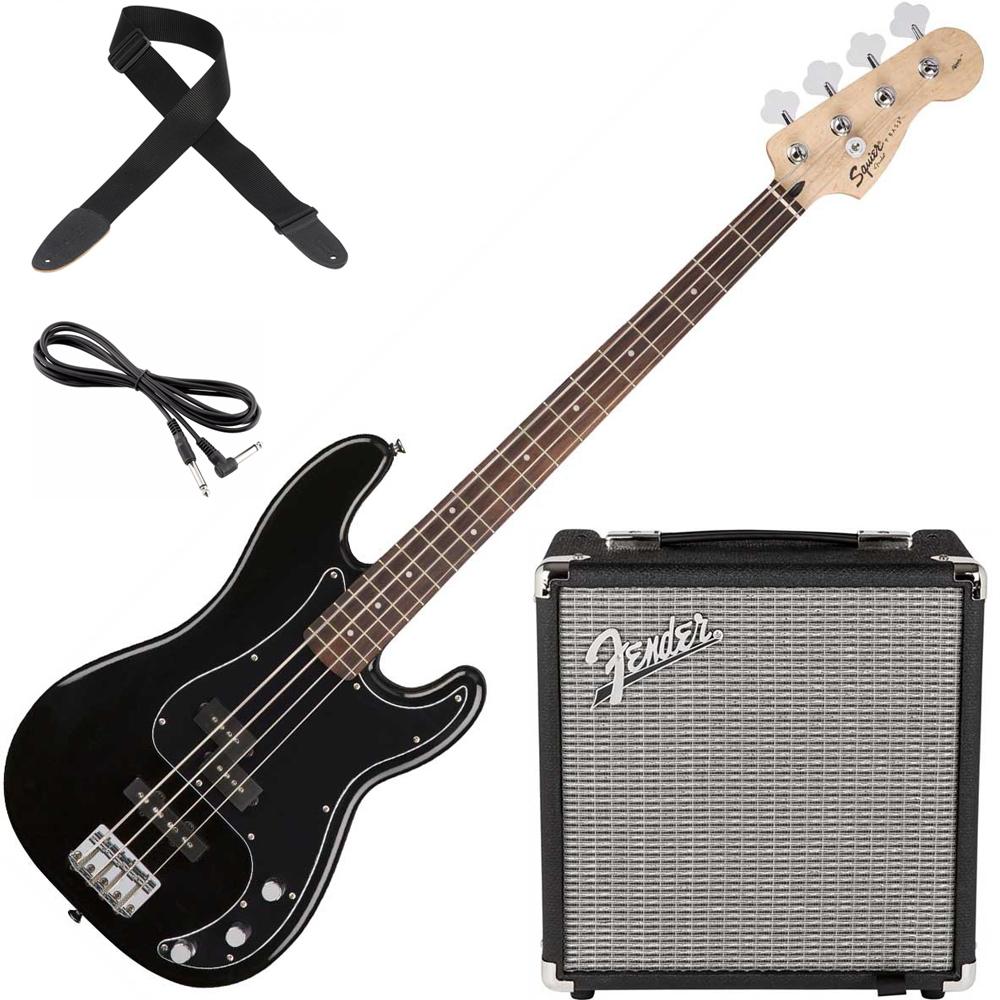 fender squier affinity series precision pj bass pack black squier bass guitars drum and guitar. Black Bedroom Furniture Sets. Home Design Ideas
